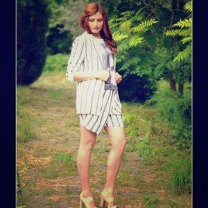 Zara White Blazer with Blue Pinstripes